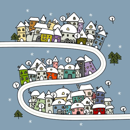 Road and houses, winter cityscape cartoon for your design Vector