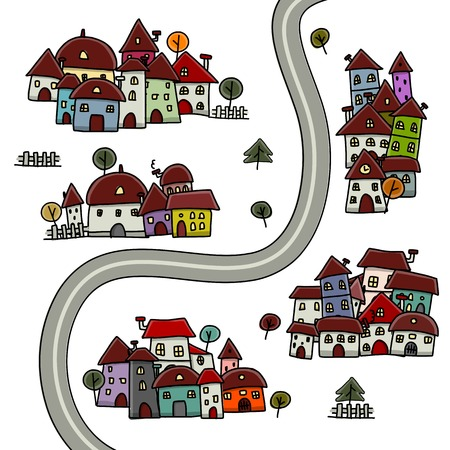 Road and houses, cityscape cartoon for your design Vector