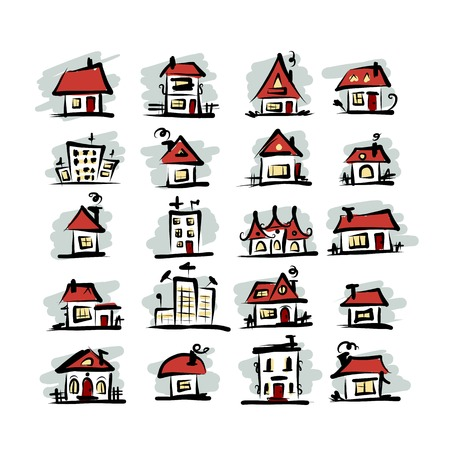 small country town: Set of houses, sketch for your design