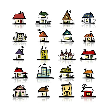 Set of houses, sketch for your design Vector
