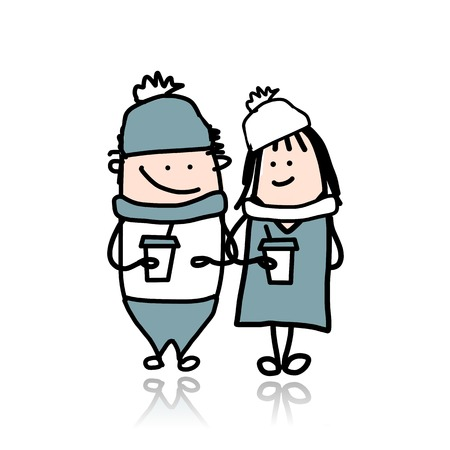 Couple walking with coffee cups, cartoon for your design Vector
