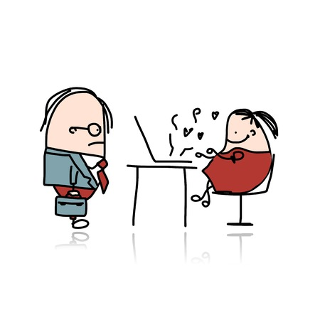 Angry boss and secretary, cartoon for your design Vector