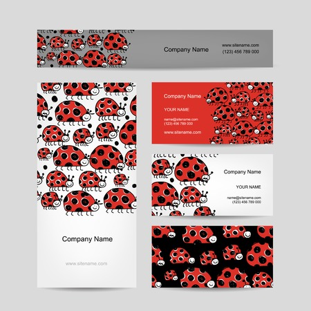 Funny ladybirds, business cards for your design Vector