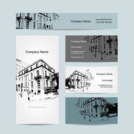 Business card, urban design. Street of Barcelona city Vector