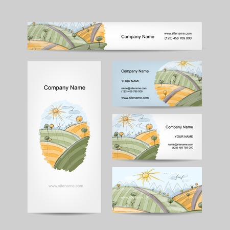 Autumn field sketch, business cards design Vector