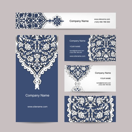eastern religion: Set of business cards design, turkish ornament