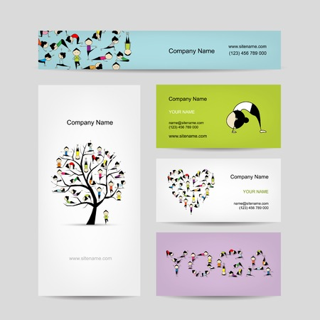 yoga asana tree pose: Business cards design, yoga tree Illustration