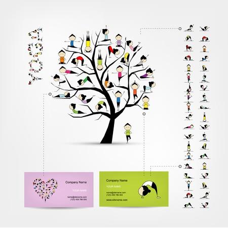 Visite kaartjes ontwerpen, yoga boom