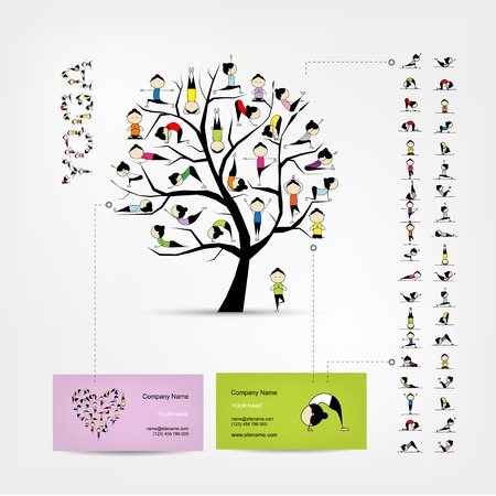 Business cards design, yoga tree Illustration