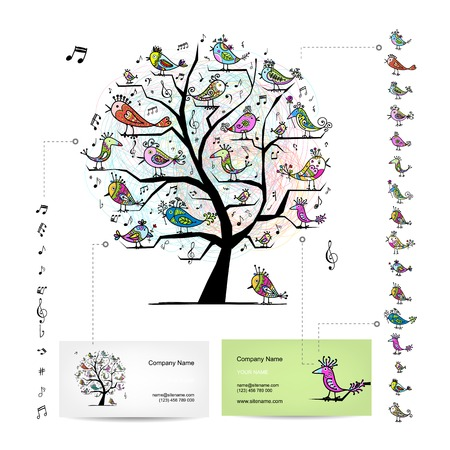 Infographic tree with funny birds. Easy editable for business cards Vector