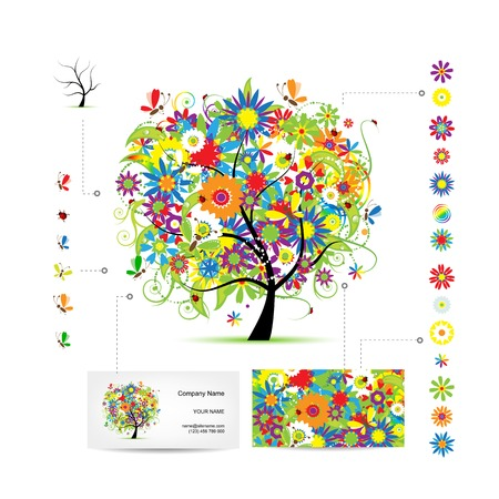 Infographic tree with funny birds. Business card template. Vector