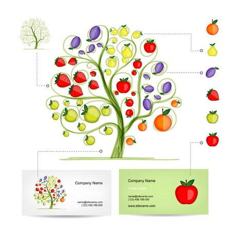 Infographic tree with fruits. Business card template. Vector