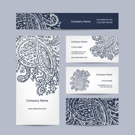 textile background: Business cards collection, floral design