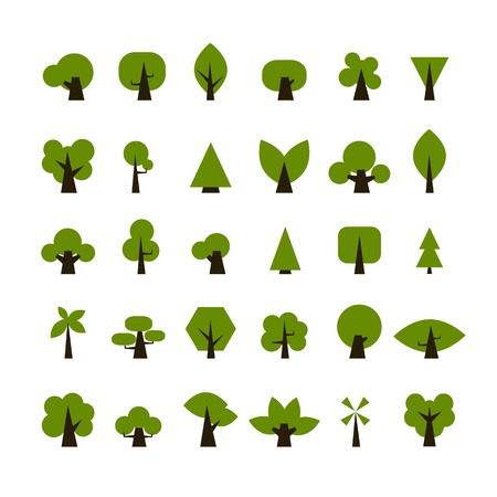 Set of green tree icons for your design Illustration