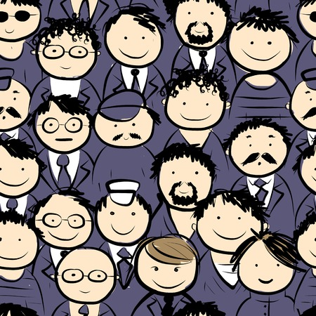 Men crowd, seamless pattern for your design Vector