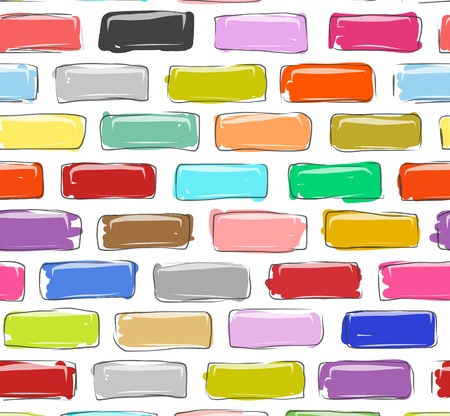 Brick wall colorful, sketch for your design Vector