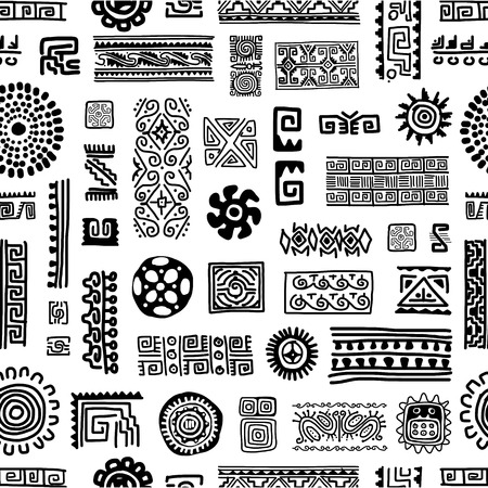 indian tattoo: Ethnic handmade ornament, seamless pattern for your design Illustration