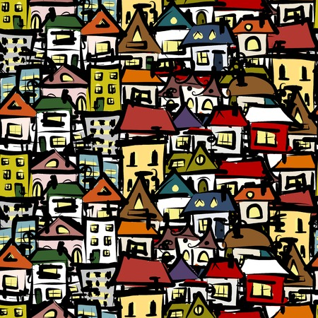 City sketch, seamless pattern for your design Vector