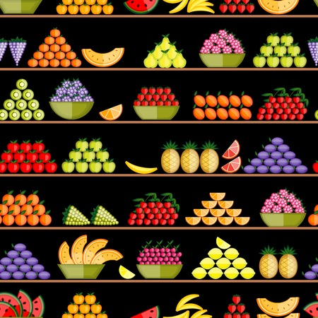 Fruits on shelves, seamless pattern for your design Vector