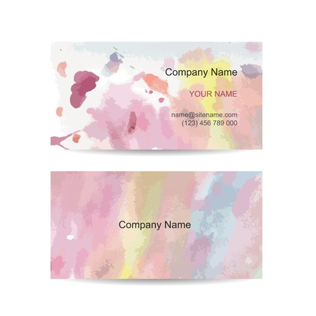 Business card template for your design. Watercolor background Vector