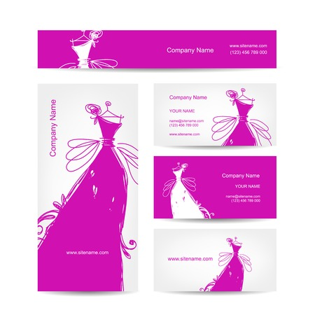 Business cards with wedding dress for your design Vector