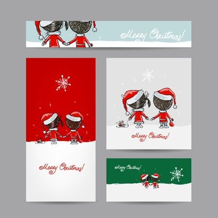 Couple in love together, christmas card for your design Vector