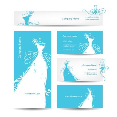 dress sketch: Business cards with wedding dress for your design Illustration