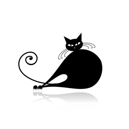 big cat: Black cat silhouette for your design