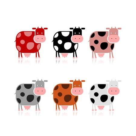Funny cow, collection for your design Vector