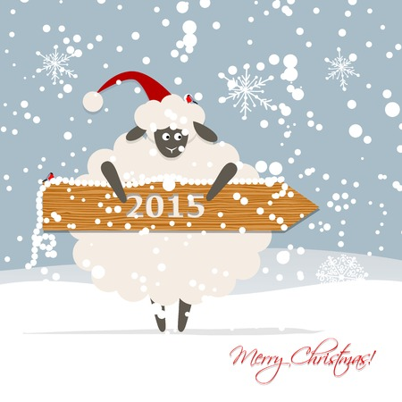 Funny sheep santa, symbol of new year 2015 Vector
