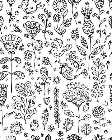 dandelion abstract: Floral pattern sketch for your design