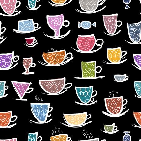 cocina caricatura: Conjunto de tazas adornadas. Patrón sin fisuras para su diseño. Ilustración vectorial