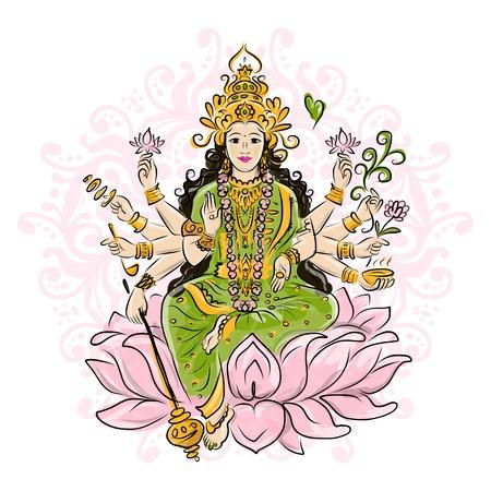 Indian goddess Shakti sketches