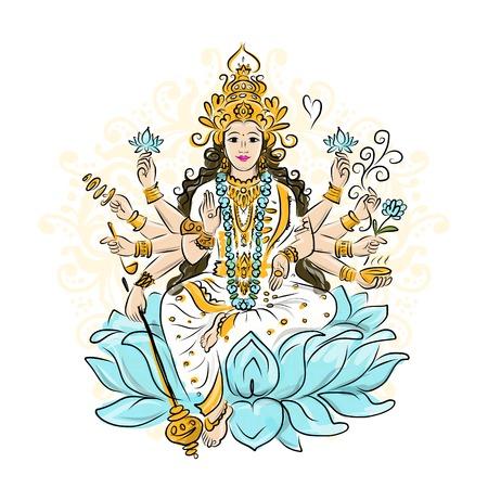 Indian goddess Shakti sketches  Vector