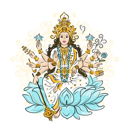 indian art: Indian goddess Shakti sketches