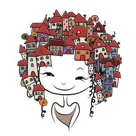 City girl concept sketches  Vector