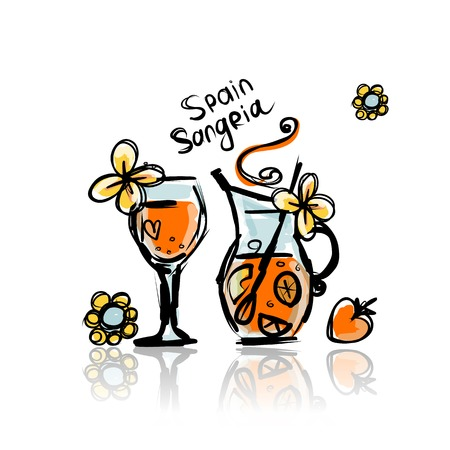 Sangria, spanish drink sketches  Vector