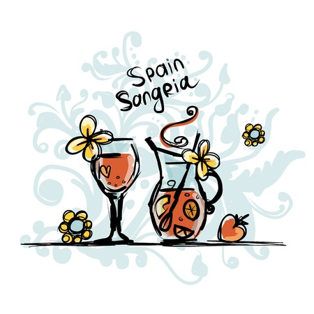 sangria: Sangria, spanish drink sketches
