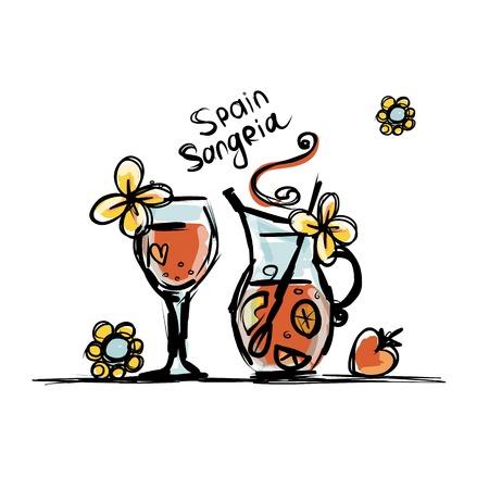Sangria, spanish drink. Sketch for your design Illustration