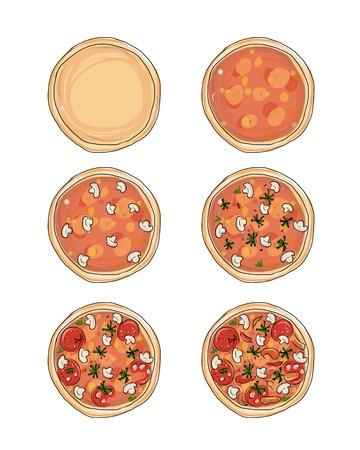 Stages of cooking pizza, sketch for your design