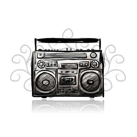 Retro cassette recorder, sketch for your design Vector