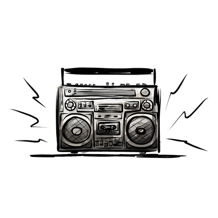 Retro cassette recorder, sketch for your design Vector