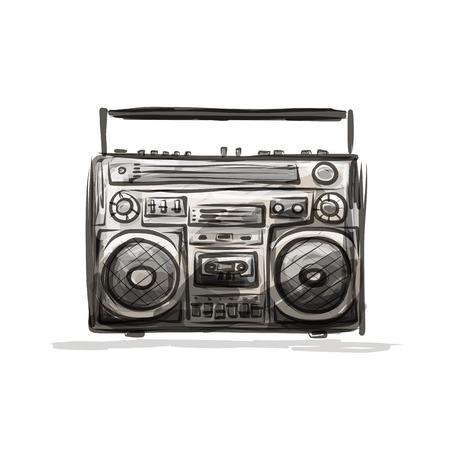 grabadora: Grabadora de casete retro, bosquejo para su dise�o