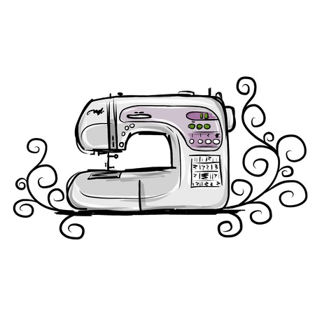 mending: Sewing machine modern, tro sketch for your design