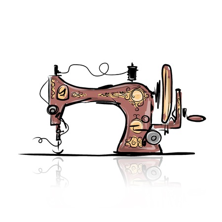 Sewing machine retro sketch for your design Vectores