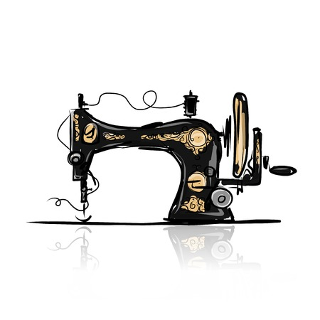 sewing pattern: Sewing machine retro sketch for your design Illustration