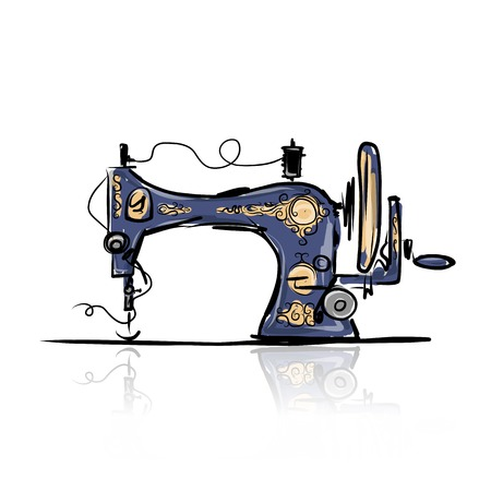 Sewing machine retro sketch for your design  イラスト・ベクター素材