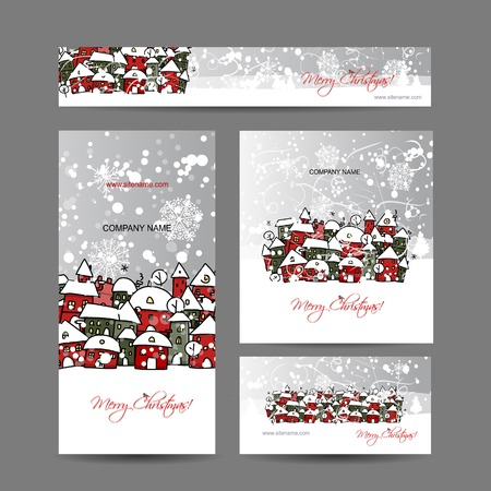 Christmas cards with winter city sketch for your design Çizim