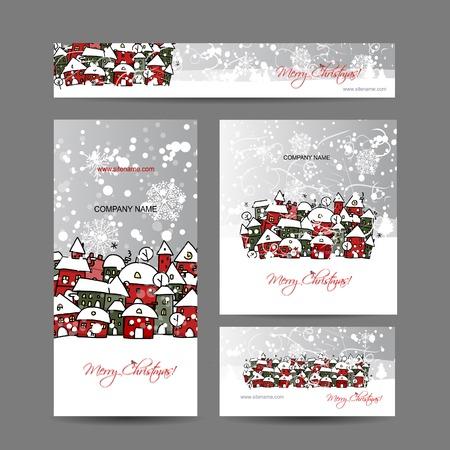 Kerstkaarten met winter stad schets voor uw ontwerp Stock Illustratie