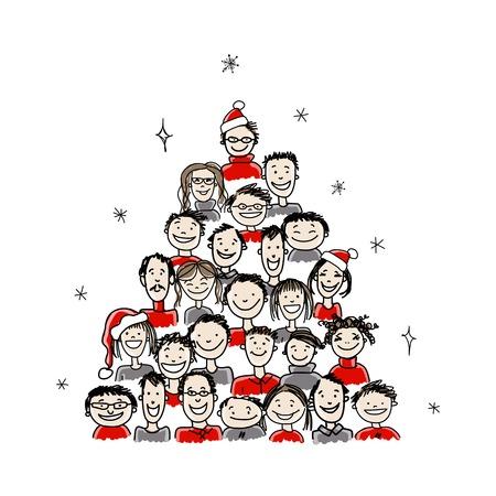 bocetos de personas: �rbol de navidad hecho de grupo de personas para su dise�o Vectores